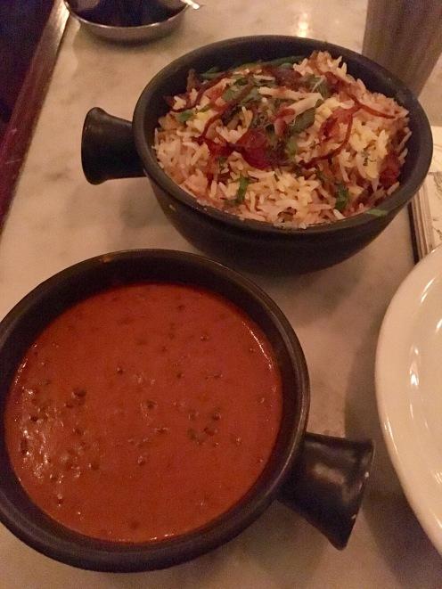 First dinner: Lamb Biryani and Black Daal