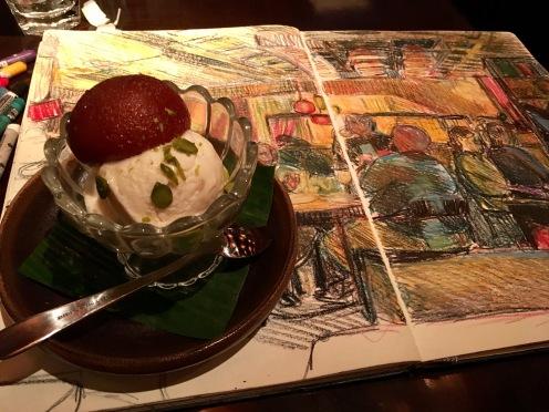Gulab Jamun with Ginger Ice-cream