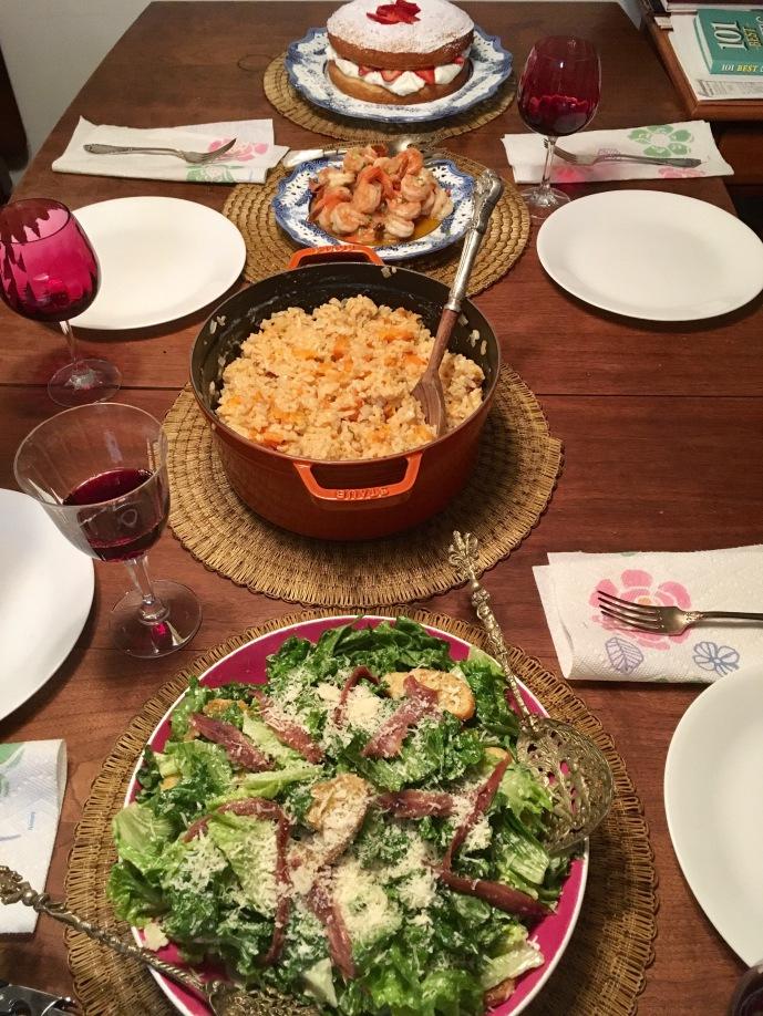 Chez Nous Dinners, Daria Souvorova, Caesar Salad, Butternut Squash Risotto, Chili Shrimp
