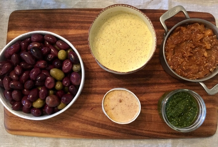 Chez Nous Dinners, Daria Souvorova, Memorial Day Cookout, Aioli, Peach Confiture, Cilantro Chutney, Olives