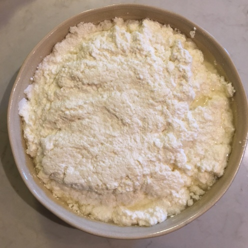 Ricotta before draining.